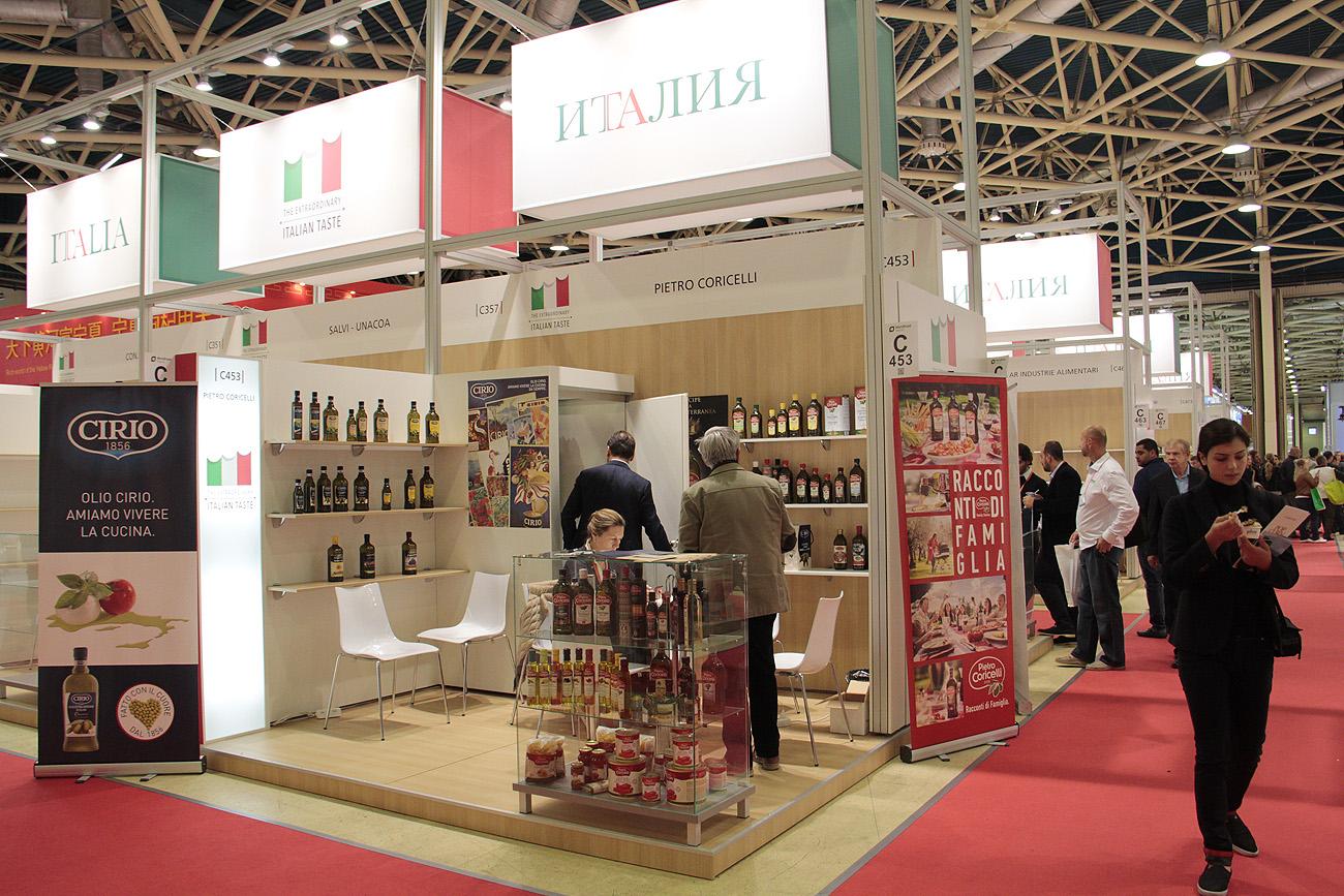 Gli stand italiani alla fiera World Food di Mosca.