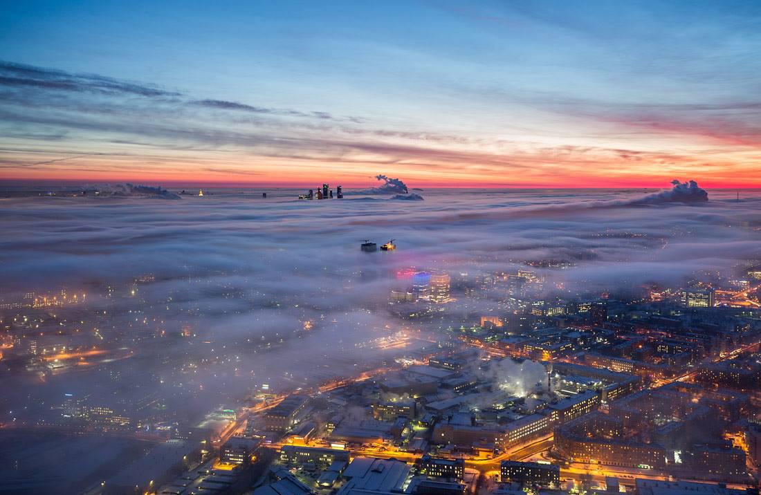 La città fotografata dalla torre di Ostankino