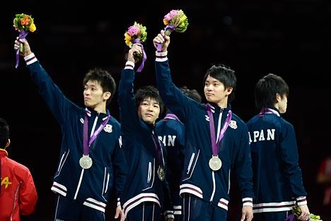 日本の体操男子団体 =タス通信撮影