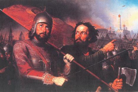 ミーニン(右)とポジャールスキーを描いた19世紀の絵画。