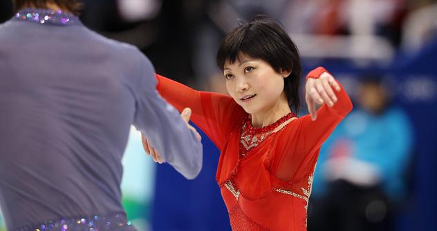 フィギュアスケートのペアの川口悠子とアレクサンドル・スミルノフ組  =Imago/Legion Media撮影