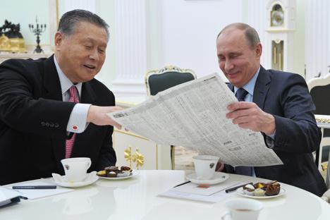 森喜朗元首相とプーチン・ロシア大統領との会談 =タス通信撮影