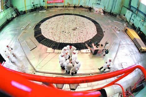 ロシアのチェリャビンスク州にあるマヤク原子力発電所の内部 =VostockPhoto撮影