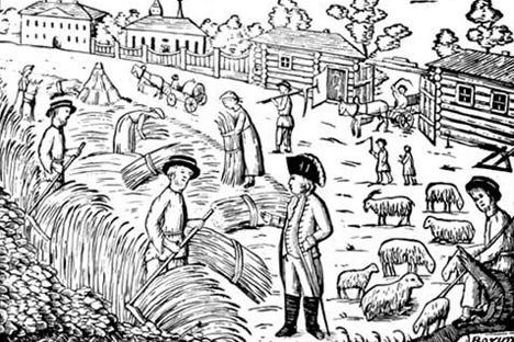 「賦役」グラビア、1798年。