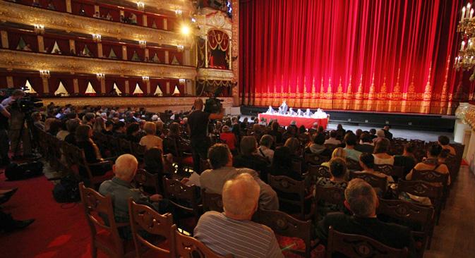 ボリショイ劇場は、海外の映画館では既に3年前から中継を行っており、大好評を博している。=タス通信撮影
