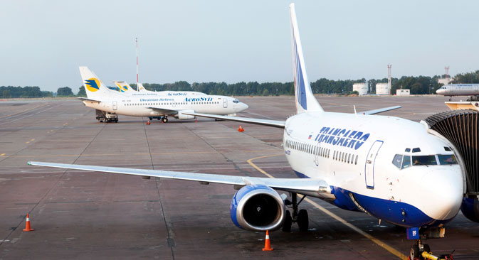 週1往復でモスクワー東京便に参入するトランスアエロ航空の旅客機、ロシア通信撮影