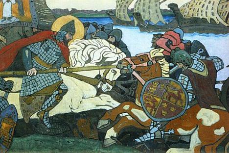 ニコライ・リョーリフ「ネヴァ川の戦い」、1904年 画像提供:wikipedia.org