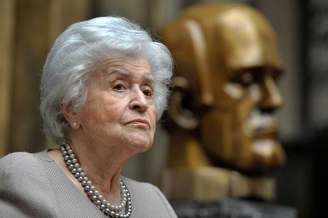 プーシキン美術館の元館長、イリーナ・アントーノワ氏(91) =セルゲイ・クズネツォフ/ロシア通信撮影