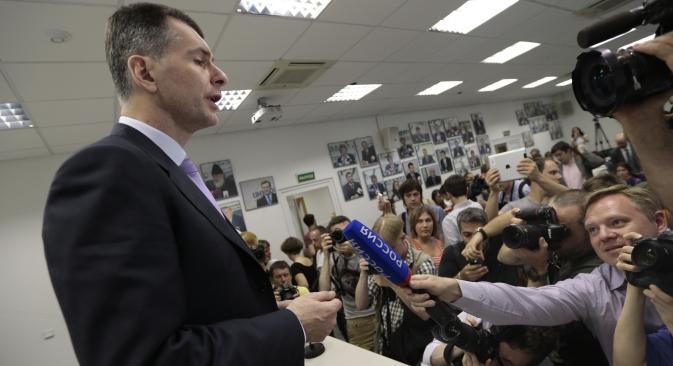 政党「国民プラットフォーム」を率いる大富豪ミハイル・プロホロフ氏(48) =AP通信撮影
