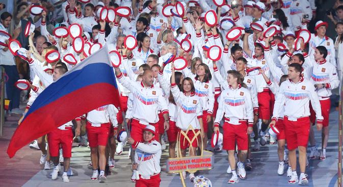 開幕から9日経過した時点で、ロシアは、金メダルの実に60%以上(105個)を獲得し、2位以下を大きく引き離した =ロシースカヤ・ガゼータ(ロシア新聞)撮影