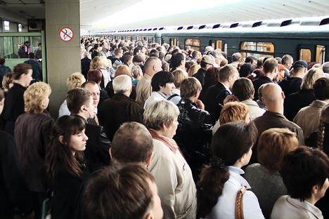 最も混雑した駅という不名誉が与えられるのは、タガーンスコ=クラスノプレースネンスカヤ線の終点となるヴィヒノ駅 写真提供:wikipedia.org / Kalan