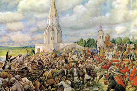 エルンスト・リスネル画「銅銭一揆」(1938) 画像提供:wikipedia.org