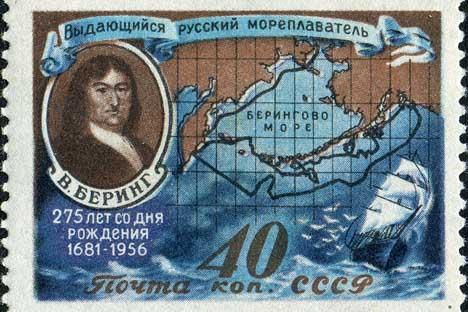 「ベーリング海峡」ソ連時代の郵便スタンプ 画像提供:wikipedia.org