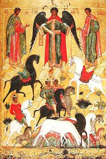 フロルスとラウルスのイコン(ノヴゴロド、15世紀末)