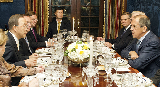 喫緊の国際問題を解決するためのロシア側の提案は、セルゲイ・ラブロフ外相が総会で発表する。=AP通信撮影