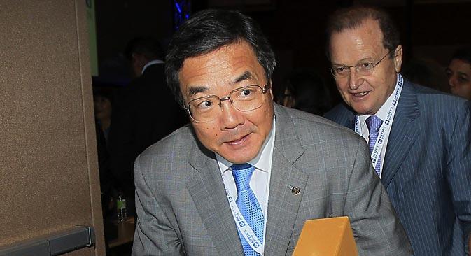 国連の専門機関「国際海事機関(IMO)」の関水康司事務局長 =タス通信撮影