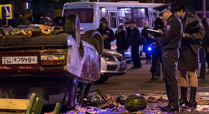 モスクワの市南部のビルリョーヴォ地区の騒乱、13日10月=ロシア通信撮影