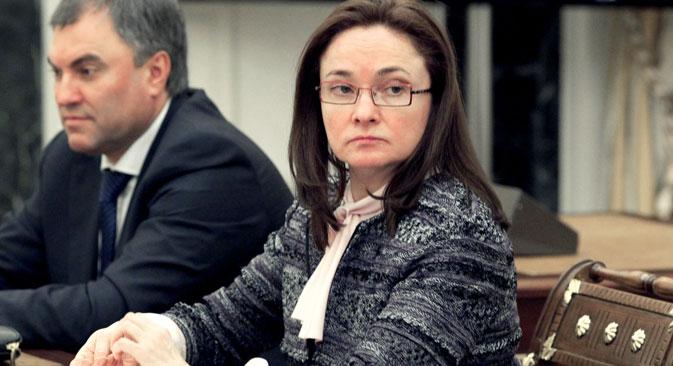 ロシア銀行のエリヴィラ・ナビウリナ総裁=タス通信撮影