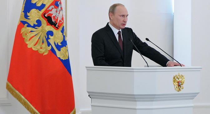 ウラジーミル・プーチン大統領の連邦議会あての年次教書。=ロシア通信撮影