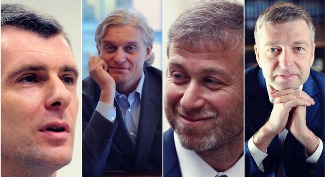 ミハイル・プロホロフ、オレグ・チニコフ、ロマン・アブラモビッチ、ドミトリー・ルィボロヴレフ=コラージュ:ロシアNOW