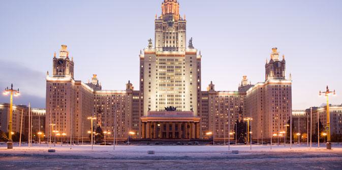 In internationalen Hochschulrankings schneiden russische Hochschulen schlecht ab. Regierung und Universitäten wollen das Imageproblem nun lösen. Auf dem Bild: Das Hauptgebäude der Moskauer Staatlichen Lomonossow-Universität. Foto: Lori/Legion Media