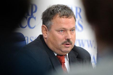 経済発展省貿易交渉部のマクシム・メドヴェトコフ部長=タス通信撮影