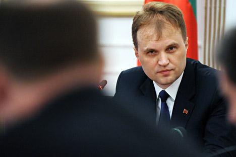 「沿ドニエストル・モルドバ共和国」のエフゲニー・シェフチュク大統領=タス通信撮影