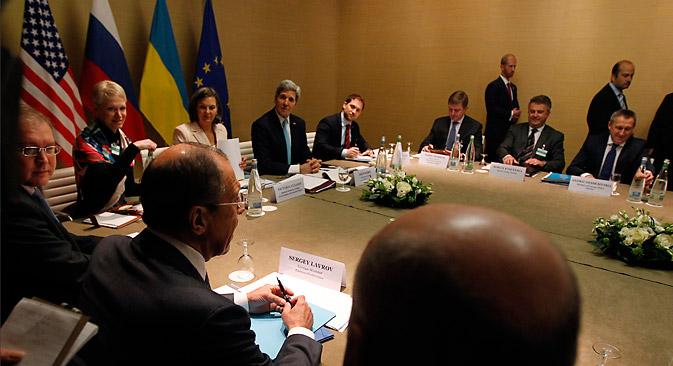 ジュネーブ合意は、一つのウクライナの維持という見通しを示唆している。=ロイター通信撮影