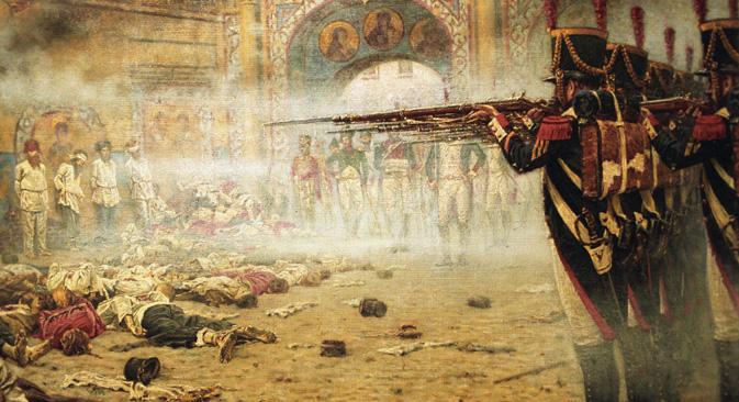 絵画「放火犯」(1897〜1898年)の複製(ナポレオン占領下のモスクワにおける放火犯たちの銃殺)。画家ヴァシーリー・ヴェレシチャーギン (1842〜1904年)による。この作品は祖国戦争を描いた連作の一枚。=画像提供:ヴラジーミル・ヴャトキン/ロシア通信