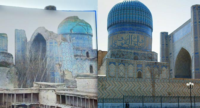 ビービー・ハーヌム・モスク, サマルカンド市。100年前(左)と今=画像提供:「ナショナル・カラー(国民の色)」