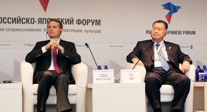 セルゲイ・ナルィシキン議長と森喜朗元首相=セルゲイ・ミヘエフ/ロシア新聞