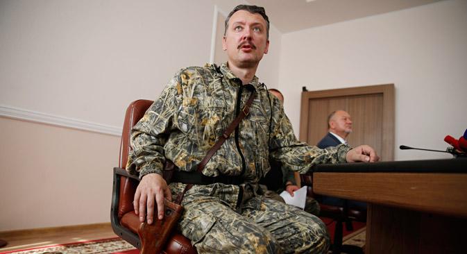 モスクワで、ドネツィクの蜂起勢力のリーダーの一人で8月末に何らかの理由で突然辞任したドネツィク人民共和国の元国防相であるイーゴリ・ストレルコフ(ギルキン)氏のブリーフィングが行われた。=ロイター通信