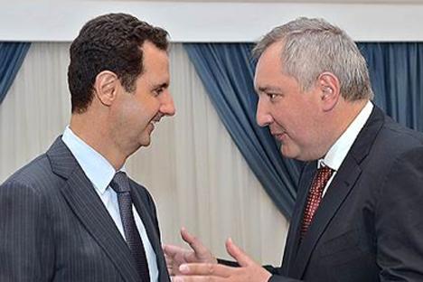 アサド大統領とロシアのロゴージン副首相=Press Photo