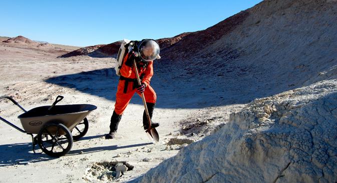 6人から構成されるチームはそれぞれ、14日間の予定で基地に来る。うち11日は疑似体験すなわち火星での宇宙飛行士の生活をシミュレーションする。=写真提供:アナスタシヤ・ステパノワ