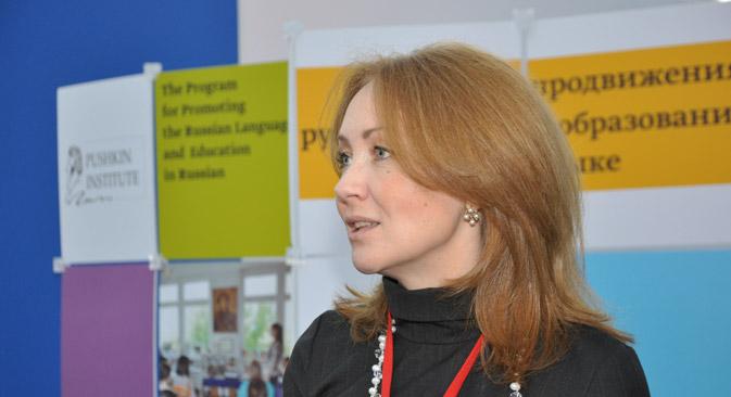 プーシキン・ロシア語大学のマルガリータ・ルセツカヤ学長=グレブ・フョドロフ撮影