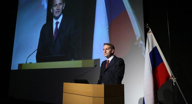 総会・メインフォーラムでは、セルゲイ・ナルイシキン・ロシア連邦下院(国家会議)議長が講演を行った。=コンスタンチン・ザヴラージン撮影/ロシア新聞