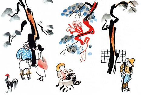 ミトゥーリチの挿絵の入った「日本民話集」より