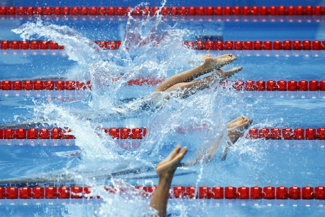 水泳の世界選手権で女子4x200メートル自由形リレー。カザン、ロシア。8月6日=