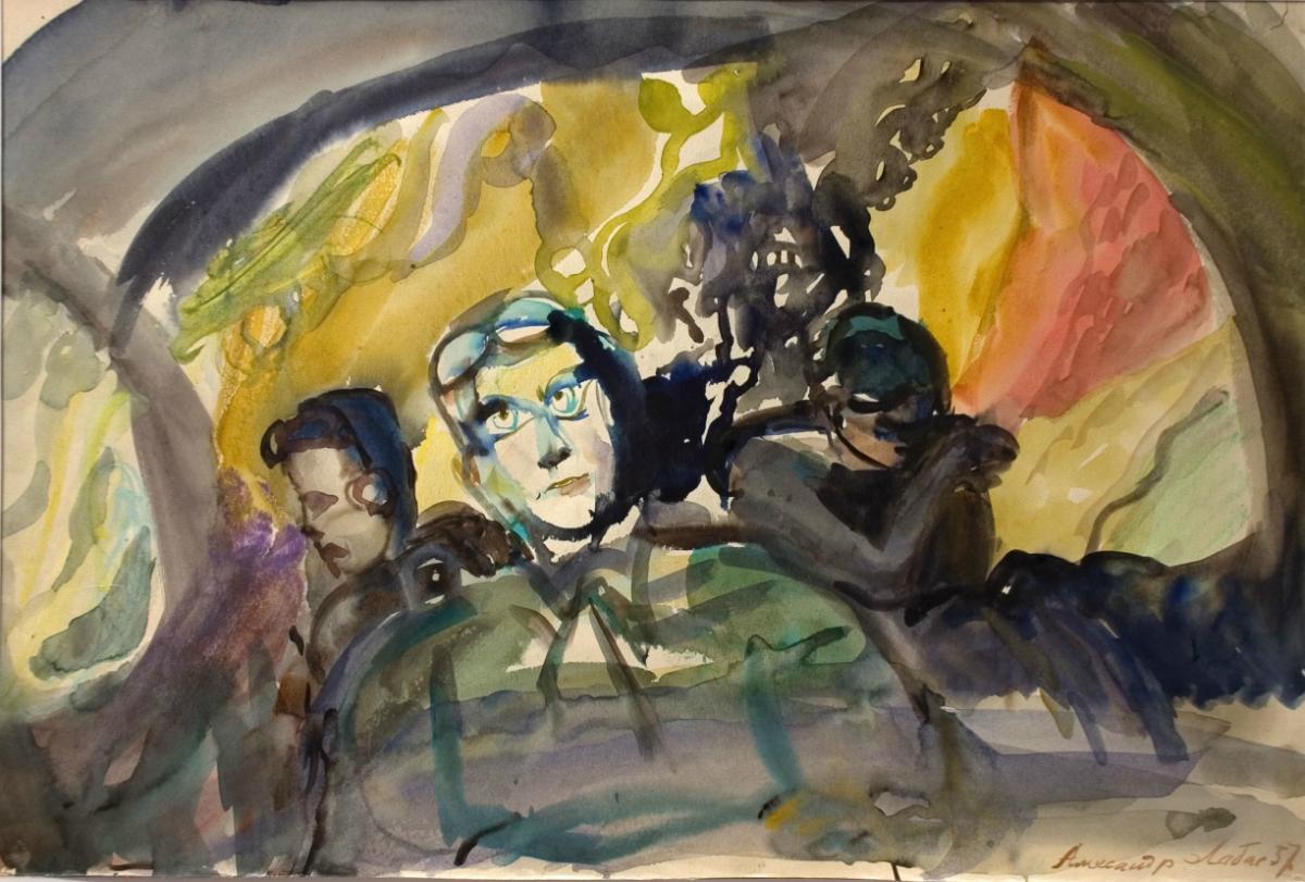 ラバスはナチスドイツからのモスクワ防衛の目撃者かつ参加者(ラバスは1941年、屋上で番をし、ナチスドイツの空襲の際に爆弾の消火を行っていた)であったため、空襲をよく知っている。//死。第1画。1957年