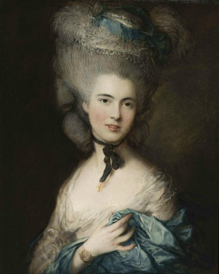 トマス・ゲインズバラ「青い服を着た婦人の肖像」、エルミタージュ美術館\n