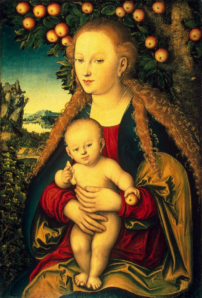 ルーカス・クラナッハ「林檎の木の下の聖母子」、エルミタージュ美術館\n
