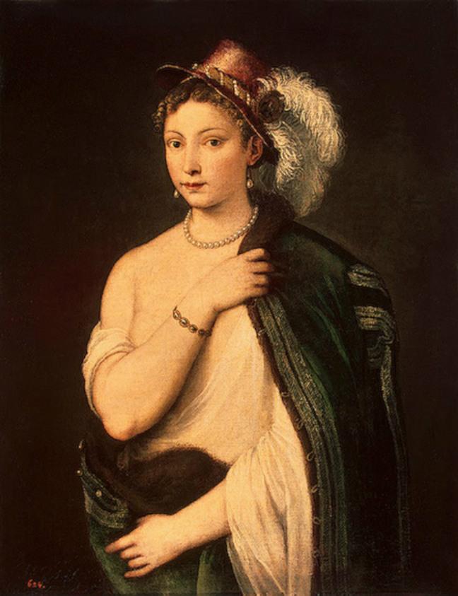 ティツィアーノ・ヴェチェッリオ「羽飾りのある帽子をかぶった若い女性の肖像」、エルミタージュ美術館\n
