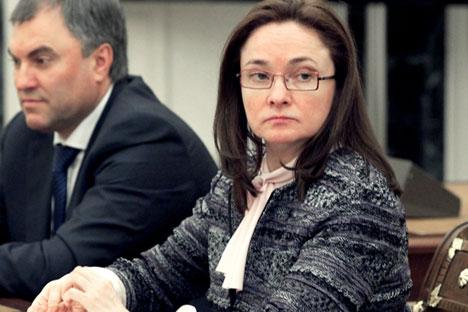 """Die Chefin von der russischen Zentralbank Elvira Nabiullina.  Die russische Zentralbank hat der großen russischen Bank """"Master-Bank"""" die Lizenz entzogen. Foto: ITAR-TASS"""