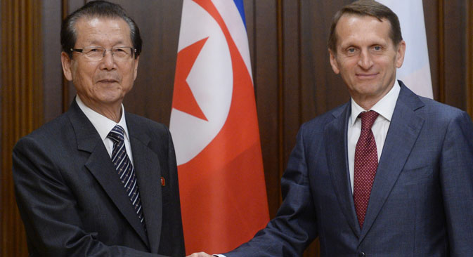 From right: State Duma Speaker Sergei Naryshkin meets with Choe Thae-bok, Chairman of the DPRK (Democratic People's Republic of Korea) Supreme People's Assembly, in Moscow. Source: RIA Novosti/Vladimir Fedorenko