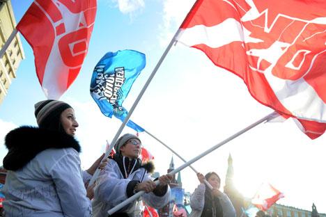 """Движењето """"Наши"""" е формирано во 2005 година и стана познато благодарение имено на масовните политички акции, на учествуваа и до 100 илјади луѓе. Извор: AFP/East News."""