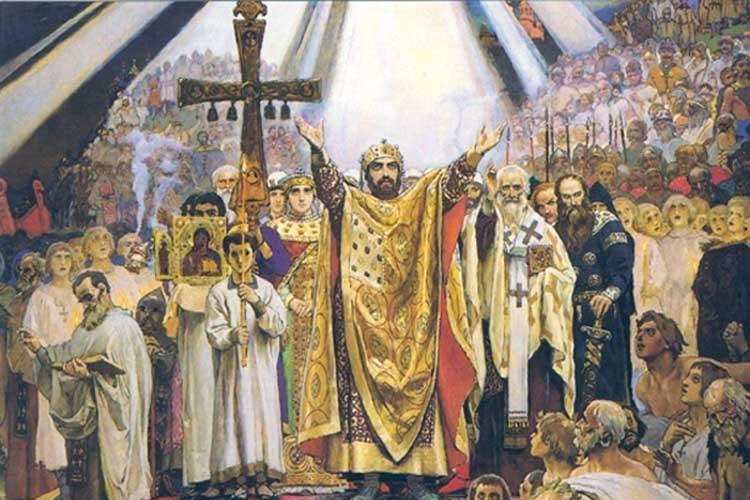 """""""Покрстувањето на Русија"""", слика на Виктор Васнецов."""