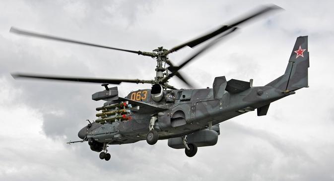 Максималната висина на летање на Ка-52 е 5500 метри, а стапката на искачување 10 метри во секунда. Фотографија: Александар Медведев.
