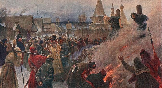"""Григориј Мјасоедов: """"Палењето на протопопот Авакум"""", 1897. Протопопот Авакум бил противник на реформите во богослужбите од 17 век на патријархот Никон."""