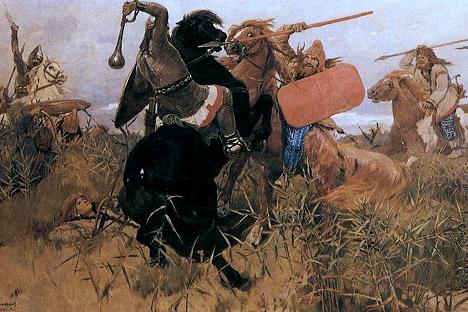 """Виктор Васнецов. """"Битка на словени со скифи"""" (1881)."""
