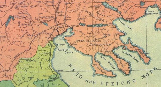 Картата на Македонија изработена од Д. Чуповски (1913).